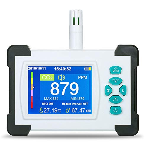 CO2-Kohlendioxid-Detektor 400-5000PPM Messbereich Intelligenter Lufttester mit Temperatur-Feuchtigkeits-Anzeige Gaskonzentration Inhalt TFT-Farbbildschirm… (milchig weiß)