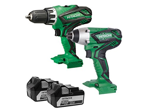 Hitatchi Power Tools KC18DGL/JE 18V Combi Drill + Impact Driver Twin Pack (2 X 5Ah Batteries), 18 W, 18 V, Green, One Size