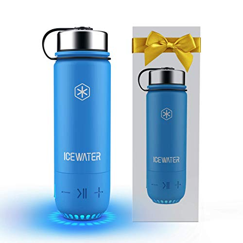 ICEWATER 3-in-1 Smart Stainless Steel Water Bottle(Glows to Remind You to Stay Hydrated)+Bluetooth Speaker+Dancing Lights,20 oz,Stay Hydrated, Enjoy Music (A4-Blue)