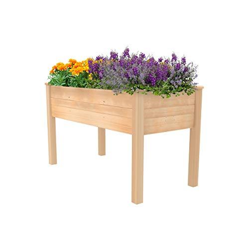 ECOgardener Raised Bed Planter, 2'x4'. Outdoor Wooden Raised Garden Bed Kit for Vegetables,...
