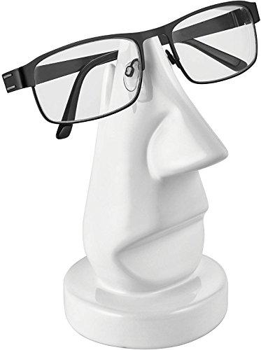 satis Brillenhalter Nase I exklusiver Keramik Ständer für 1 Brille I Deko Brillenständer Weiß, Modern I Brillenablage I Ständer für Brillen I Brillenaufbewahrung