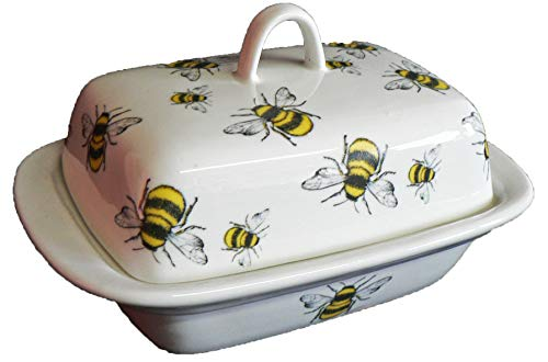 Bees Butter Dish -Cute Bumble Bees Design on Porcelain Butter Dish