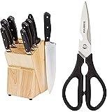Amazon Basics Juego de cuchillos de cocina y soporte (9 piezas) + Premium - Tijeras de cocina multifunción