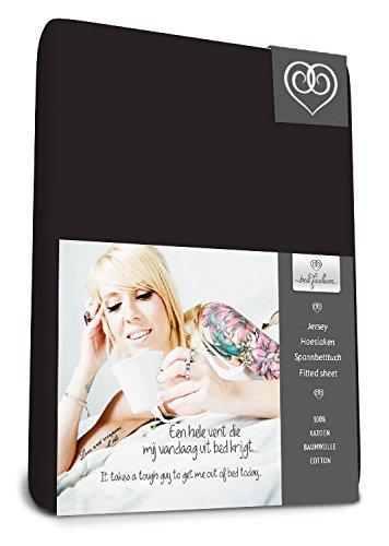 Bed-Fashion Jersey Topper Hoeslaken 80 x 200 cm-Zwart, Enkel