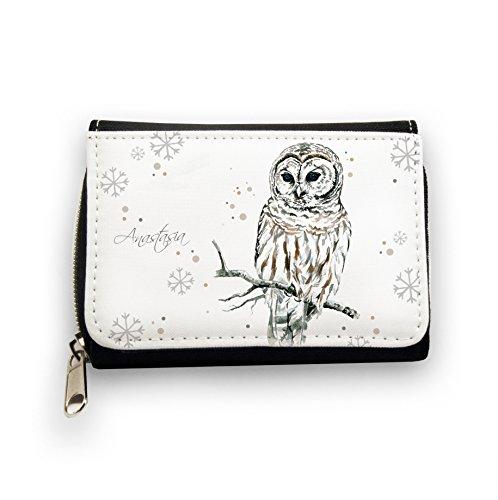 ilka parey wandtattoo-welt Portemonnaie Geldbörse Brieftasche Eule Eulchen Schneeeule auf AST mit Schneeflocken Schneekristalle Punkte und Wunschnamen gk057