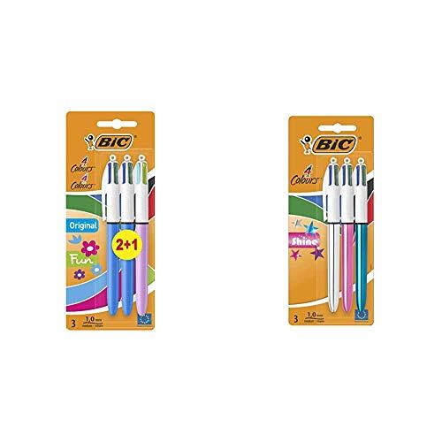 BIC 4 Original y BIC 4 Fun bolígrafos Retráctiles punta media (1,0 mm) + 4 Shine Bolígrafo Retráctil punta media (1,0 mm) – Metálicos Surtidos, Blíster de 2+1