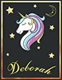 Deborah: Personalized Unicorn Sketchbook For Girls & Women With Elegant Golden Name Frame and Stars - 8.5 x 11 inches, 100 Pages White Paper Black ... Doodle Create and Taking Note ) MUST SEE !!!