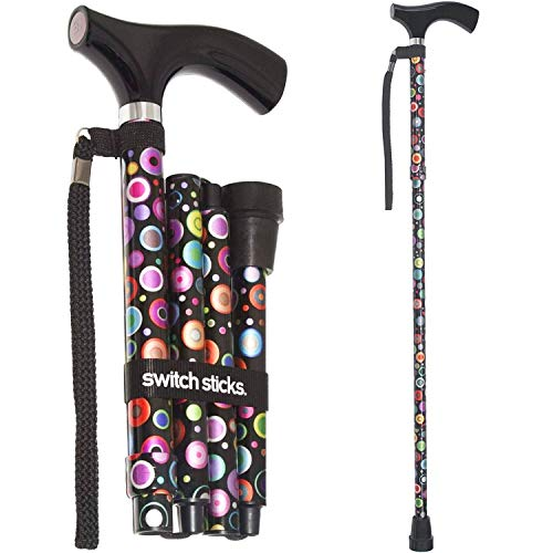 Switch Sticks Adjustable Folding Walking Cane and Walking Stick Collapses and Adjusts from 32 to 37 inches, Bubbles