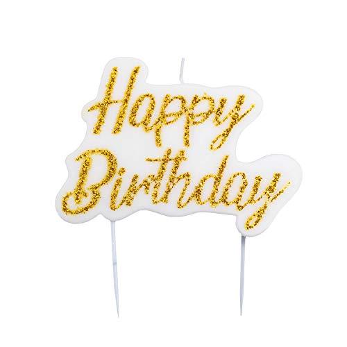 Givi Italia Candela Happy Birthday per Torta Buon Compleanno | Oro Glitter | Decorazioni per Dolci | Cake Topper Addobbi Party Festa Auguri Particolari per Bambini e Adulti