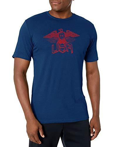 Under Armour Men's Freedom Eagle T-Shirt, Academy Blue (408)/Red, Medium