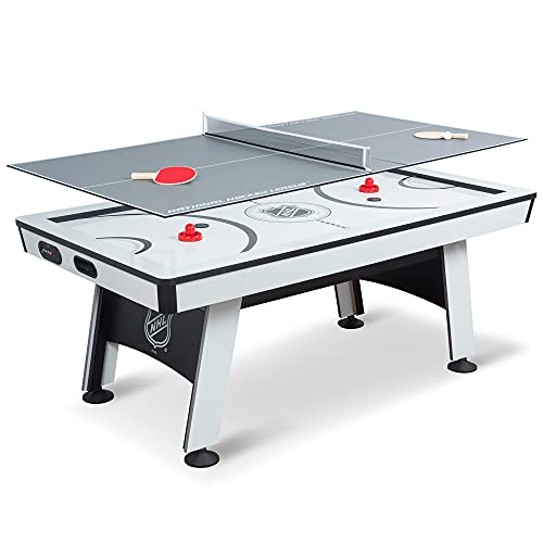 EastPoint Sports NHL 80 inchPower Play 2-in-1 Air Hockey Table with Table Tennis Top - Perfect for Family Game Room, Adult rec Room, basements, Man cave, or Garage