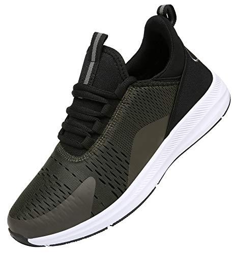 KOUDYEN Uomo Donna Scarpe da Ginnastica Corsa Sportive Fitness Trail Running Leggera Sneakers Basse XZ476-ArmyGreen-EU38