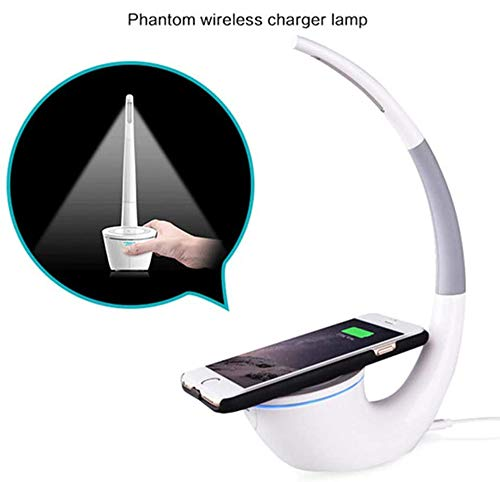 Qi draadloze oplader 2 in 1 Desk LED Light Draadloze oplader Lamp Eyes Bescherming Leeslampen USB-oplader voor de Iphone X 8