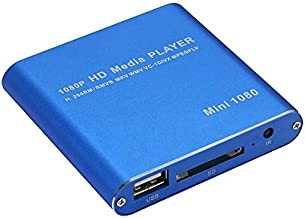 $99 » Tilesoroh Mini 1080P Extensive HD Media USB HDD SD/MMC Card Player Box (Color : Blue)