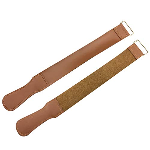 EXCEART 2 Pcs Sangles de Rasoir en Cuir Rasoir Strop pour Barbier Rasoir Droit Ceinture Pliante Poignée à La Main Poignée Tissu de Polissage