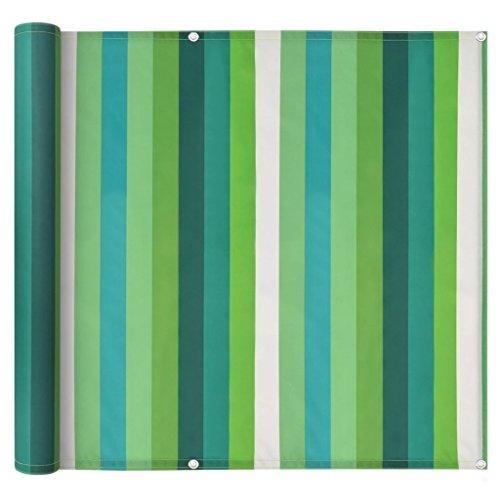 FZYHFA Balcon d'écran Tissu Oxford à Rayures Vert avec Soleil Vent Protection Contre Les UV 75 x 400 cm