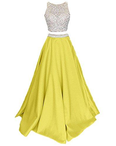 Callmelady Satin Zwei Stück Ballkleider Lang Abendkleider Damen Abiballkleider (Gelb, EU46)