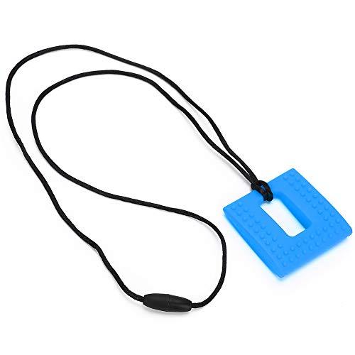 Mordedor para bebés Silicona Forma cuadrada Masticar sensorial Juguetes para la dentición para el alivio(Azul)