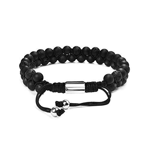 Jewellery Bracelets Bangle For Womens Beaded Adjustable Bracelet For Men Women Fashion Stone Beads Bangles Jewelry Male Gifts-Lava_Stone