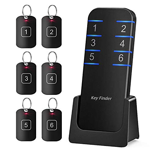 Key Finder Locator Wallet Tracker Finder, Wireless 115ft RF Smart Key Finders Trackers Tracking Device, 1 Transmitter 6 Receivers, Trackers for Keys and Wallets, Purse Glasses Pet Phone Car Keychain