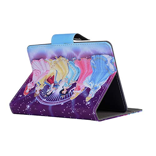 Princesas en vestido brillante - Tamaño 8 pulgadas Tablet - Stand UP Case para Disney Cartoon Hero Princess Character para cualquier lengüeta de 8 pulgadas (manzana o android)