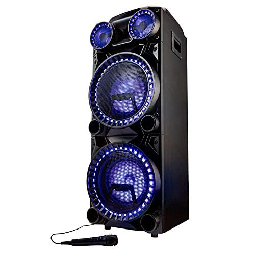 MEDION X64060 Party-Soundsystem (Partylautsprecher, Karaoke DJ und Schlagzeug-Funktion, 2 x 1000 W, Bluetooth, USB, AUX, Gitarrenanschluss, inklusive Mikrofon)
