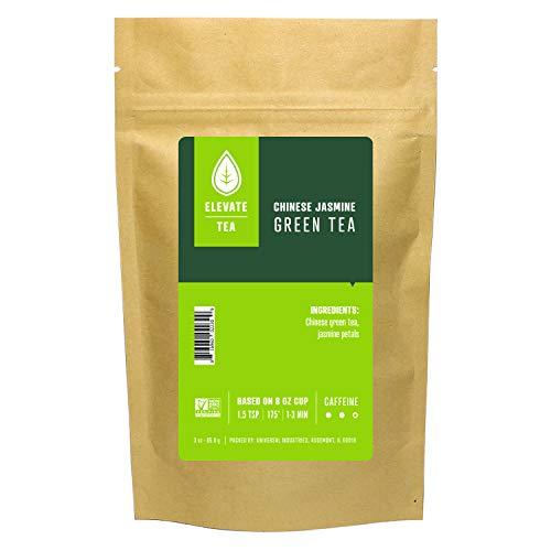 Elevate Tea Chinese Jasmine Tea - Loose Leaf Green Tea, Medium Caffeine, 3 oz Pouch - 30 Cups, Hot & Iced Tea, No Artificials, Unsweetened Jasmine Tea Loose Leaf
