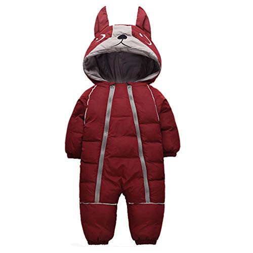 Fairy Baby Infant Boy Girl Winter Thick Romper Outwear Warm Hood Snowsuit Jumpsuit Size 1T (WineRed)