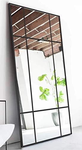 Standspiegel Ganzkörperspiegel, Schwarz, aus Metall – Rechteckiger Ankleidespiegel   [H 200* B 100* T 3cm]   Designed in Dänemark   Garderobenspiegel groß, lang, stehend   vertikal/horizontal
