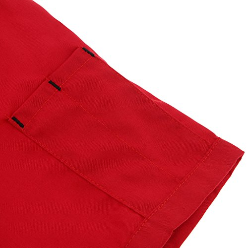 P Prettyia Atmungsaktive Kurzarm Kochjacke Backjacke Kochkleidung Koch Gastronomie Berufsbekleidung Arbeitskleidung für Restaurant Gastronomie – Rot, 2XL - 9