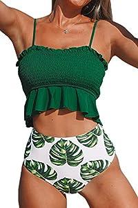 CUPSHE Women's Smocked Green and Monstera Ruffled High Waisted Bikini X-Small