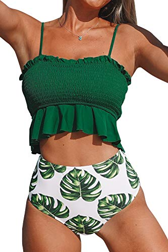 CUPSHE Women's Smocked Green and Monstera Ruffled High Waisted Bikini Medium