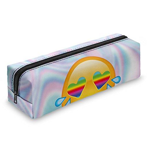 Pen Pencil Case Cartera monedas bolsa de viaje con cremallera bolso de mano totalmente impreso papelería Escuela Oficina Organizador, color Emoji Rainbow Eyes