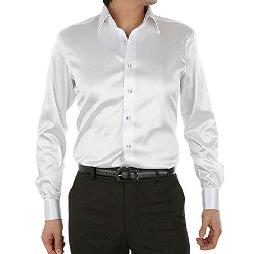 qiansu Uomo Formale Camicia in Raso e Seta Lucida Slim Fit Business T-Shirt Plain Facile Stiro Tops con Tessuto Popeline con Polsini Francesi Manica Lunga 15 Colori