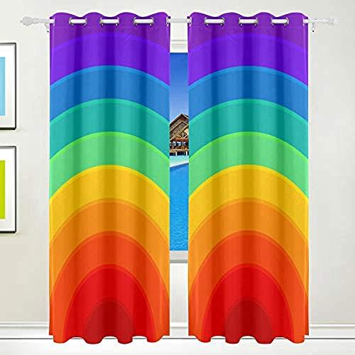 shkdif 3D Cortinas Opacas Imagen Arcoiris,Cortinas Térmicas De Salón Dormitorio Anti Ruido para Ventana De Habitaciones Infantiles Juveniles 220Wx215H Cm