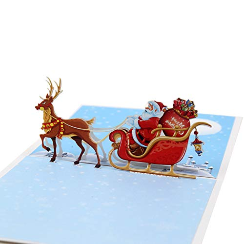 Tofree di regali di Natale 3D cervi Babbo Natale cartolina di Natale Capodanno DIY carta regalo creativo