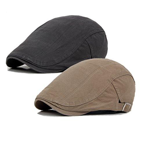 Qossi 2 Pack Men's Cotton Flat Cap Ivy Gatsby Newsboy Hunting Driving Hat