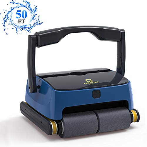 OT QOMOTOP Automatic Pool Cleaner, Portable Robotic Pool Cleaner with Wall Climbing & Waterline Cleaning, 2 Large Filter Baskets, Ideal Pool Cleaner for In-ground/Above Ground Pools up to 50ft