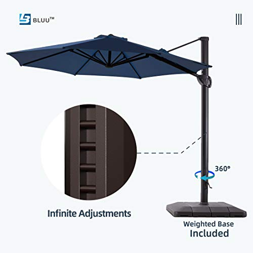 Bluu 11ft Deluxe Patio Offset Umbrella Cantilever Umbrella Outdoor Hanging Market Umbrellas with Cross Base and Weight Base, 360 Degree Rotation(Navy Blue)
