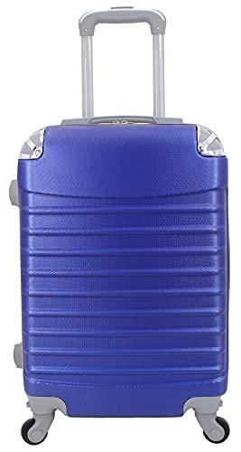 Maleta de Cabina 20x35x55cm con Esquinas Plateadas (Azul)