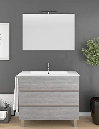 PDM Mueble de baño ARAE con Lavabo y Espejo. Aplique LED no Incluido. Toallero de Regalo. Gris Ceniza 70CM