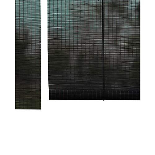 WYAN Schwarz Rollos, Jalousien Bambus 60cm breit, effektiv die Kontrolle Sonne Licht und Wind, geeignet for Fenster und Türen Per finestra/Porta/Patio (Color : FLATCURTAIN, Size : 60X140CM)