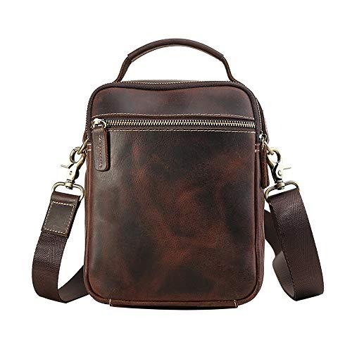 Zzyff New Retro Leather Men's Shoulder Bag Multi-function Crossbody Shoulder Bag Crazy Horse Leather Outdoor Leisure Bag Yellow Brown (Color : Brown)