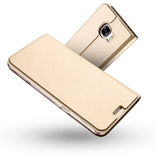 Radoo Galaxy A5 2017 Hülle, Premium PU Leder Handyhülle Brieftasche-Stil Magnetisch Folio Flip Klapphülle Etui Brieftasche Hülle Schutzhülle Tasche Hülle Cover für Samsung Galaxy A5 2017 (Gold)
