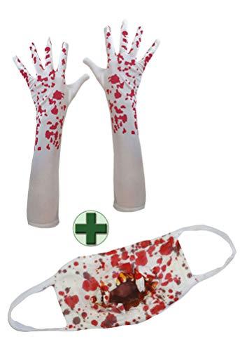 Karneval-Klamotten Handschuhe mit Blut Mundschutz blutig Zombie Horror
