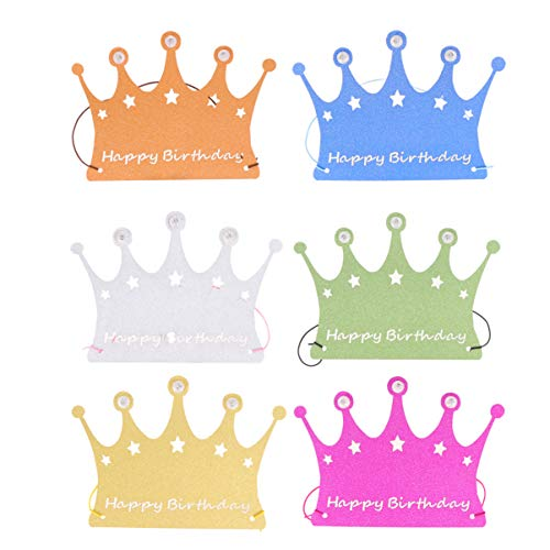 Affordable Happyyami 6pcs Glitter Paper Birthday Hat Happy Birthday Crown Hat Led Glowing Crown Head...