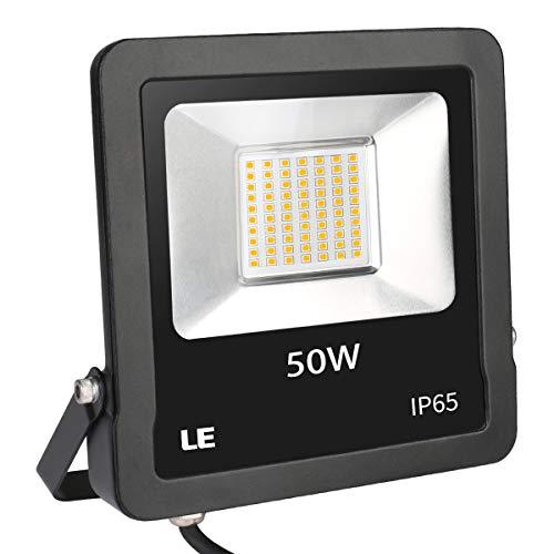 LE Projecteur LED Ultra Mince 15W 1500LM Blanc Froid 5000K, Spot LED Extérieur Etanche Verre Trempé à Grain Fin, Eclairage de Sécurité Détecteur de Mouvement pour Jardin, Cour, Garage, Entrée (50w-1)
