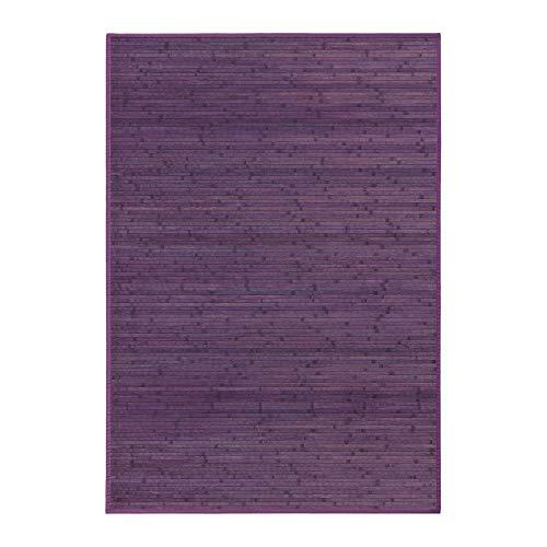 Lola Home Alfombra para salón de bambú (140 x 200 cm, Violeta)
