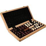 Warm Home Ajedrez de gran tamaño, ajedrez de madera maciza de alta calidad, tablero plegable de ajedrez de madera, piezas de ajedrez más pesadas, y damas (tamaño: 52 x 52 cm)