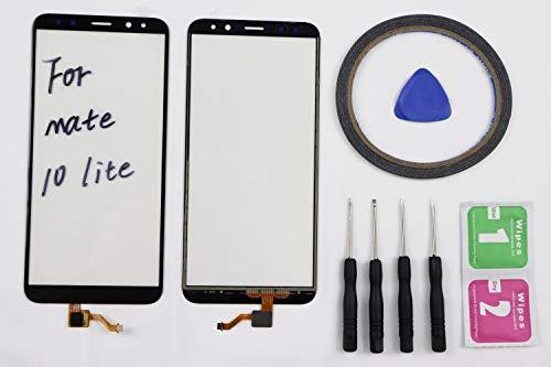 JRLinco per Huawei Mate 10 Lite/Huawei G10 / G10 Plus/Honor 9i / Nova 2i Nova2i Schermo di Vetro, Parte di Ricambio Display Touchscreen(Senza LCD)per Huawei Mate 10 Lite Nero+Attrezzi & Bi-Adesivo